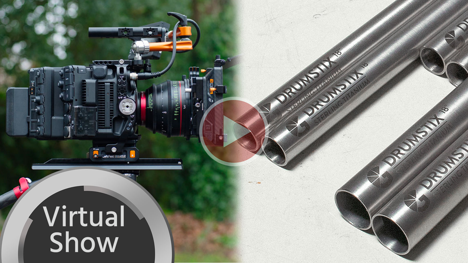 Primer vistazo a las varillas Drumstix de Bright Tangerine y al armazón de campo izquierdo para Canon EOS C500 Mark II