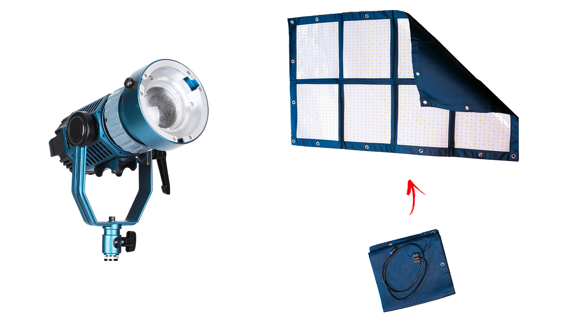 Luces LED Light Cannon X-100 y MEGA-LiteCloth de Intellytech