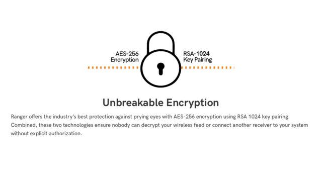 Teradek Ranger - AES-256 Encryption utilising RSA-1024 Key Pairing (Credits: Teradek, LLC)
