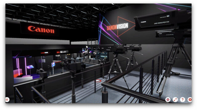 "Virtually walk around a ""cyber"" show floor. Image Credit: Canon"