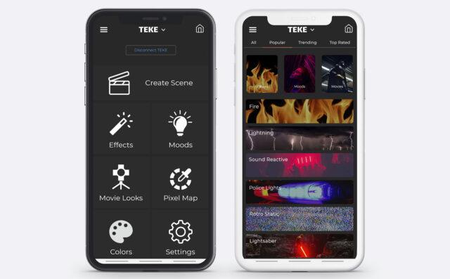 TEKE DMX Tube Lights App. Image Credit: TEKE