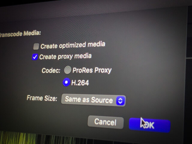 Making Proxies in Final Cut Pro