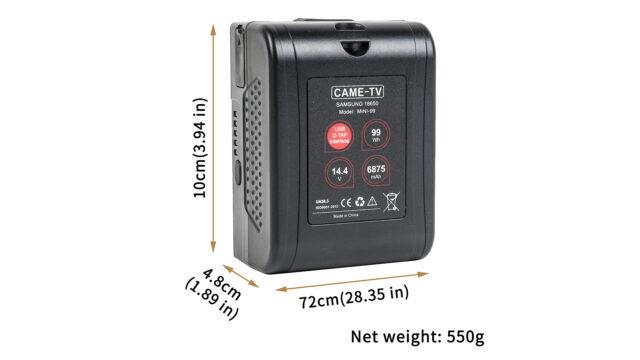 CAME-TV Mini 99 V-Mount Battery Dimensions. Image Credit: CAME-TV