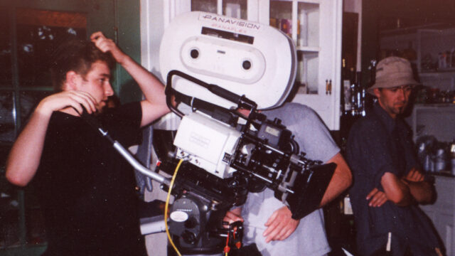 "Author scratching his head behind a Panavision Panaflex Platinum — this very camera was used on Season I of the ""Sopranos""."