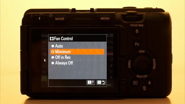 Sony FX3 Fan control