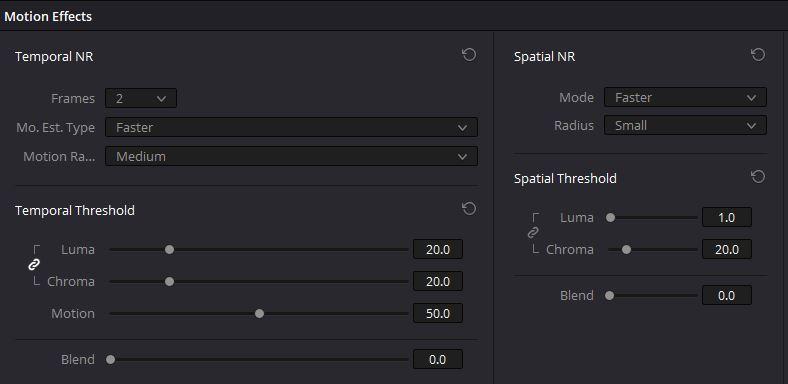 DaVinci Resolve noise reduction settings