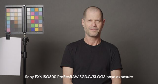 Sony FX6 base exposure of our standard studio scene