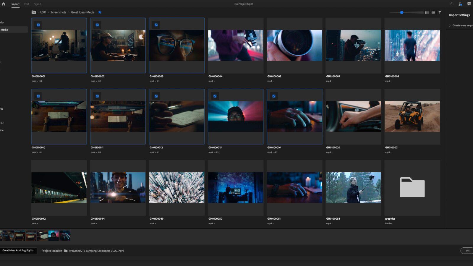 Premiere Pro Public Beta new Import Panel