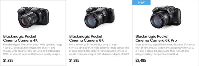Current Blackmagic Design Pocket Cinema Camera lineup.