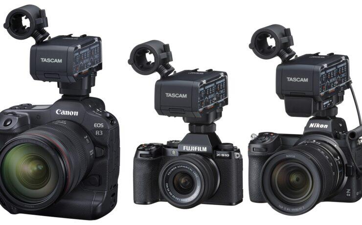 TASCAM CA-XLR2d Audio XLR Adapter for Canon, FUJIFILM, and Nikon - Development Announced