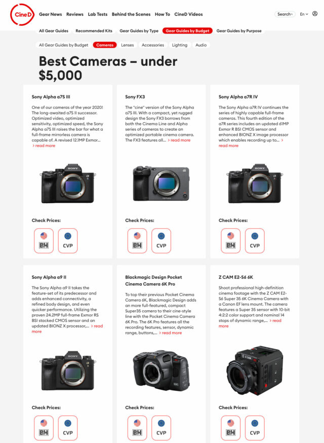 Product overview page in a CineD Gear Guide