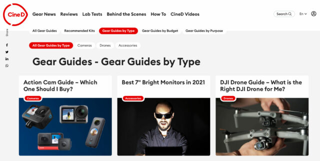screenshot of the CineD Gear Guide in the Type section category